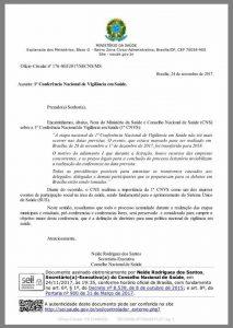 OFICIO CNS- ADIAMENTO CONFERENCIA